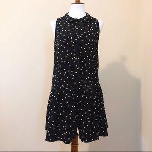 Zara Peter Pan Collar Polka-dot Sleeveless Dress